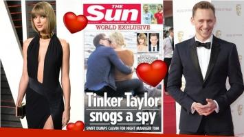 Taylor Swift sorprendida a los besos con Tom Hiddlestone. Foto: The Sun/ Web