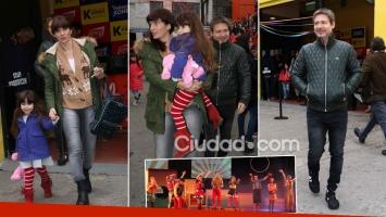 Adrián Suar, Griselda Siciliani y Margarita, tarde de teatro y looks invernales. (Foto: Movilpress)