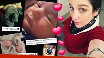 ¡Presentación oficial! Juana Repetto publicó la primera foto de Toribio. Fotos: Instagram