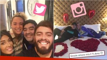 Diego Maradona, a puro amor en Italia: selfie con Diego Jr. y noche romántica con Rocío Oliva. Foto: Twitter/ Instagram