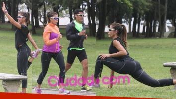 Catherine Fulop hizo gimnasia con su personal trainer en Vicente López. Fotos: Movilpress.