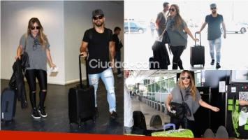 Karina La Princesita y el Kun Agüero, juntos en el aeropuerto de Ezeiza y de regreso a Inglaterra. Foto: Movilpress