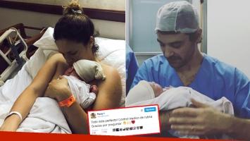 Paula Chaves y Pedro Alfonso, junto a su hijo Baltazar tras su nacimiento, el 2 de octubre. (Fotos: Twitter)