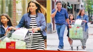 Amalia Granata y Leonardo Squarzon, juntos y en familia en una salida al supermercado. Foto: Revista Paparazzi
