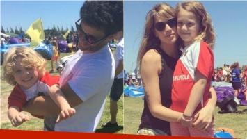 Mariano Martínez y Juliana Giambroni, juntos y con sus hijos en una tarde de juegos. Foto: Instagram