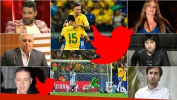 Los tweets de los famosos durante el duro 3-0 de Brasil a Argentina. Foto: Web