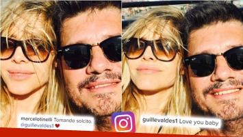 Las románticas selfies de Tinelli y Guillermina en su bienvenida adelantada al verano. (Foto: Instagram)