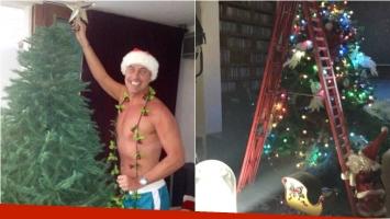 El particular look navideño de Marley para armar el arbolito. Foto: Instagram