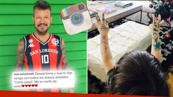 ¡De tal palo…! La tierna foto de Lorenzo 'tatuado' que publicó Marcelo Tinelli. (Foto: Instagram)