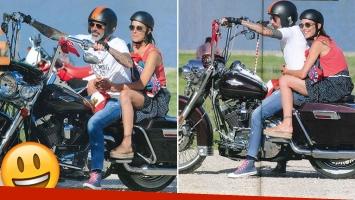 Juana Viale junto a un nuevo amigo: exdiplomático fashion y motoquero. (Foto: revsita Caras)