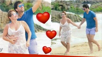 Nancy Pazos junto a su novio Ignacio Iparraguire, mimosos en las playas de Punta. Foto: Paparazzi