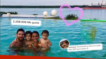 ¡Chapoteo en familia! Lionel Messi y un chapuzón refrescante junto a Antonella Roccuzzo y sus hijos, Thiago y Mateo. (Foto: Instagram)