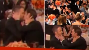 El beso de Ryan Reynolds y Andrew Garfield en los Golden Globe. Foto: Captura