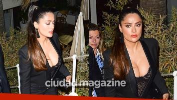 Siempre diosa! El escote súper sexy de Salma Hayek en una exclusiva fiesta de Cannes. (Foto: Grosby Group)