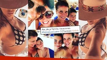 ¡Diosa embarazada! Flor Peña, pancita en bikini y vacaciones familiares en la playa: