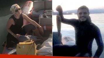 El día de pesca de Wanda Nara y Mauro Icardi