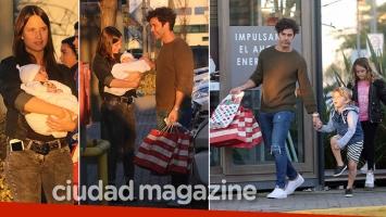 ¡Tarde en familia! Mariano Martínez, paseo de compras junto a Camila Cavallo, su beba y sus hijos. (Foto: Movilpress)