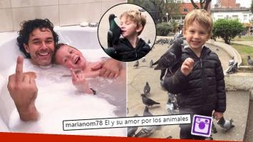 Mariano Martínez y el video de su hijo besando una paloma que dividió las aguas en Instagram.