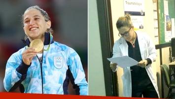¡Foto viral! La campeona olímpica de yudo Paula Pareto, doctora en un hospital público
