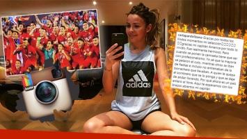 """La mujer del arquero de la selección chilena """"escrachó"""" al plantel, tras quedar afuera del Mundial."""