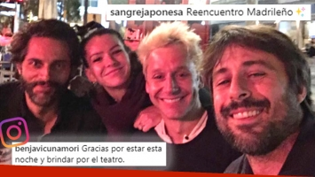 ¡Noche de amigos en Madrid! Benjamín Vicuña junto a China Suárez y Joaquín Furriel