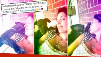 Isabel Macedo y la tierna reacción de su perra