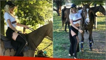 El particular look polo sexy de Vicky Xipolitakis: jean con cierres y medias rasgadas