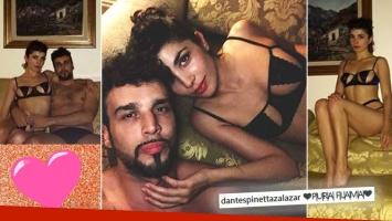 ¡Pareja súper hot! Dante Spinetta publicó fotos íntimas del apasionado festejo de cumple de su novia.