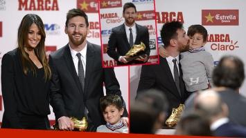 Lionel Messi fue premiado con el Botín de Oro 2017: la presencia de Antonela Roccuzzo y el tierno beso con su hijo...