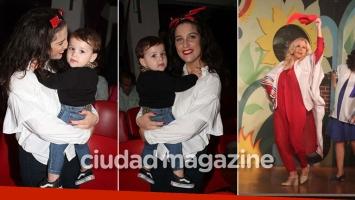 ¡Al teatro con mamá! Juana Repetto junto a su hijo, Toribio, en el estreno marplatense de Reina Reech. (Foto: GM Press)