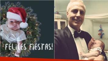 La foto súper tierna de Marley y su hijo, con gorrito de Papá Noel: Feliz 2018 les desea Mirko