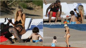 Los días de relax de Tinelli y Guillermina Valdés en Punta: mates, mimos y juegos en la playa con sus hijos
