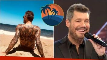 El reposo de Marcelo: Tinelli tomó sol en Punta del Este y mostró todos los tatuajes de su espalda