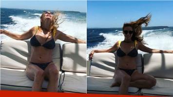 Analía Franchín peló lomazo y bikini a bordo de un yate: Las olas y el viento