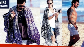 El singular look playero de Pocho Lavezzi en las playas de José Ignacio: manta pareo estilo hindú y toalla tejida de...