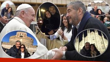 El Chavo Fucks y un momento único con el papa Francisco, durante sus vacaciones con su pareja en Europa.