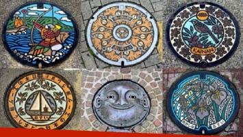 Japón adorna sus alcantarillas con obras de arte