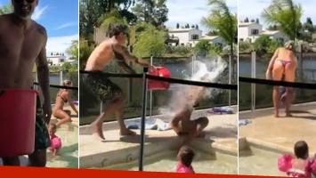 """¡Guerra de agua! La divertida revancha """"carnavalera"""" de Nicolás Paladini con Rocío Guirao Díaz"""