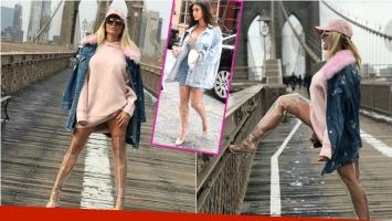 El particular look de Vicky Xipolitakis para las bajísimas temperaturas de Nueva York: vestido corto… ¡y botas de...