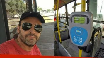 Adrián Pallares y su selfie esperando un colectivo: Estreno la SUBE