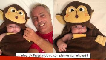 Marley, súper feliz junto a Mirko a cuatro meses de su nacimiento: ¡Festejando su cumplemes con el papá!
