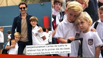 El tierno mensaje de Benjamín Vicuña en el primer día de escuela de sus hijos: Caritas de sueño