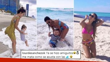 Las fotos de Lourdes Sánchez junto a Valentín en las playas de Miami: Así de felices