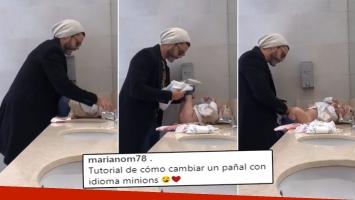 El divertido video de Mariano Martínez con su beba Alma: Tutorial de cómo cambiar un pañal