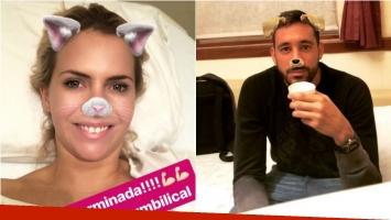 Alejandra Maglietti pasó por el quirófano y Jonás Gutiérrez la acompañó: Cirugía terminada; chau, hernia