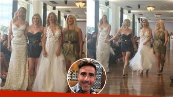 Laurita Fernández y Macarena Rinaldi, juntas en el cierre de un desfile en el Argentina Fashion Week