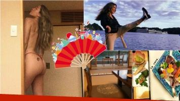 El álbum de fotos de Jimena Barón en Japón: foto casi al desnudo, deliciosos platos y paisajes increíbles