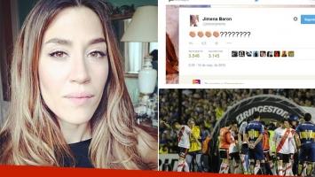 Jimena Barón y sus sensaciones del Superclásico. (Fotos: Twitter, Web e Instagram)