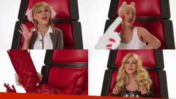 Christina Aguilera se lució imitando a algunas de sus colegas y repartió palitos para Britney Spears, Lady Gaga, Shakira y Miley Cyrus. Foto: Captura