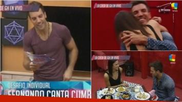 Fernando recibió a su novia en El Cuarto Rojo de Gran Hermano. Foto: Captura